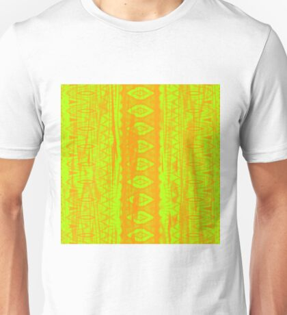 Native Wrinkly Batik pattern - orange & spring green Unisex T-Shirt