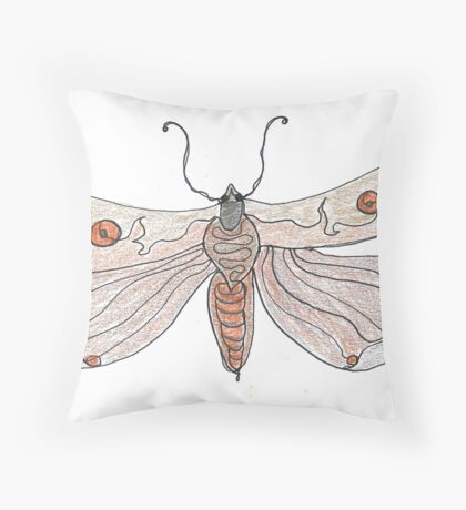 The Endangered Austyn Teal Moth (one-line #123) Throw Pillow