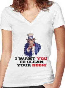 I WANT YOU TO CLEAN YOUR ROOM Women's Fitted V-Neck T-Shirt
