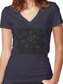 Asteroids Women's Fitted V-Neck T-Shirt