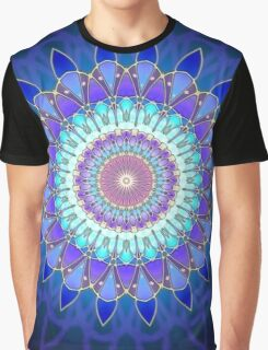 Flower Mandala - blue cyan violet Graphic T-Shirt