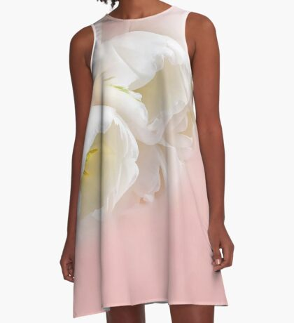 Tulips over pink A-Line Dress
