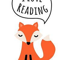 I love reading, cute cartoon fox by MheaDesign