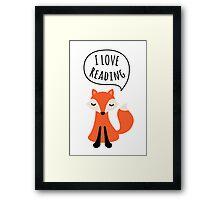 I love reading, cute cartoon fox Framed Print