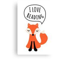 I love reading, cute cartoon fox Canvas Print