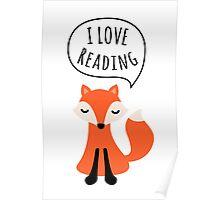 I love reading, cute cartoon fox Poster