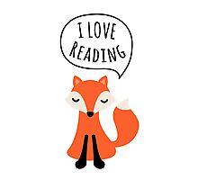 I love reading, cute cartoon fox Photographic Print