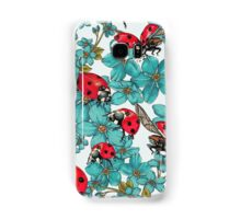 Happy Ladybugs with flowers Samsung Galaxy Case/Skin