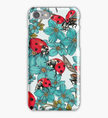 Happy Ladybugs with flowers iPhone Case/Skin