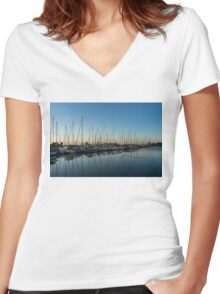 Glossy Early Morning Ripples - Bright Blue Summer at the Marina Women's Fitted V-Neck T-Shirt