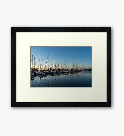 Glossy Early Morning Ripples - Bright Blue Summer at the Marina Framed Print