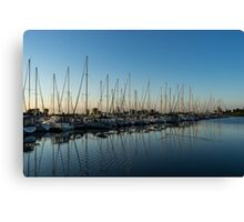Glossy Early Morning Ripples - Bright Blue Summer at the Marina Canvas Print