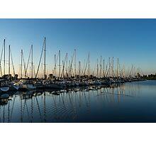 Glossy Early Morning Ripples - Bright Blue Summer at the Marina Photographic Print