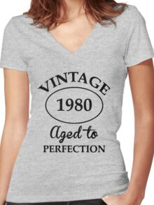 vintage 1980 aged to perfection Women's Fitted V-Neck T-Shirt
