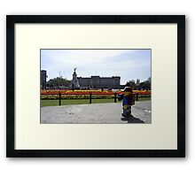 The Lego Backpacker checking out Buckingham Palace Framed Print