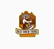 Bartender Pouring Beer Keg Cityscape Crest Retro Unisex T-Shirt