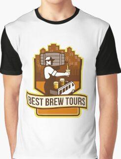 Bartender Pouring Beer Keg Cityscape Crest Retro Graphic T-Shirt