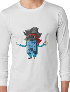Smartphone in form of old pirate Long Sleeve T-Shirt
