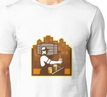 Bartender Pouring Beer Keg Cityscape Retro Unisex T-Shirt