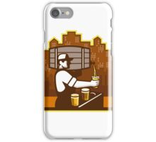 Bartender Pouring Beer Keg Cityscape Retro iPhone Case/Skin