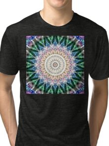 Flowers Star Mandala - green blue pink Tri-blend T-Shirt
