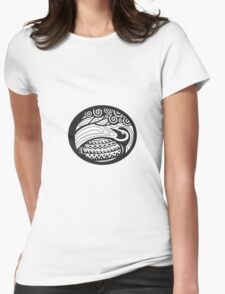 Golden Plover Looking Up Tree Oval Tribal Art Womens Fitted T-Shirt