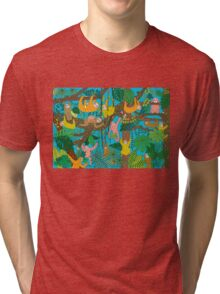 Happy Sloths Jammed Jungle  Tri-blend T-Shirt