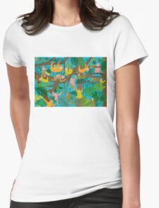 Sloths Jammed Jungle  Womens Fitted T-Shirt
