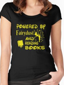 Powered by Fairydust and reading books Women's Fitted Scoop T-Shirt