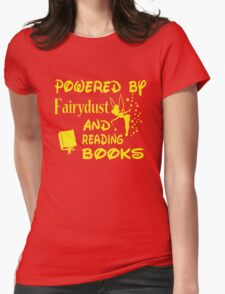 Powered by Fairydust and reading books Womens Fitted T-Shirt