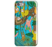 Happy Sloths Jammed Jungle  iPhone Case/Skin