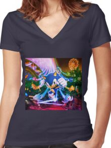 Sonic Party Women's Fitted V-Neck T-Shirt