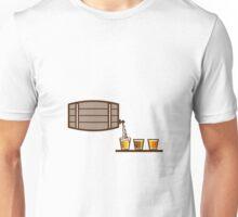 Beer Flight Keg Pouring on Glass Retro Unisex T-Shirt