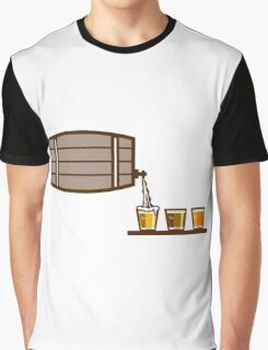 Beer Flight Keg Pouring on Glass Retro Graphic T-Shirt