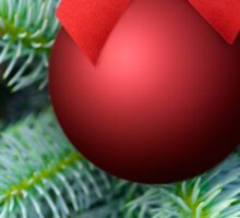 Red Christmas bauble on a fir tree Sticker