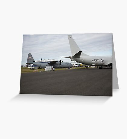 US Air Force and US Navy planes on show at the Futures Day & FAB Friday at Farnborough International Airshow Greeting Card