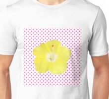 Yellow Hibiscus on Pink Polka Dots Unisex T-Shirt