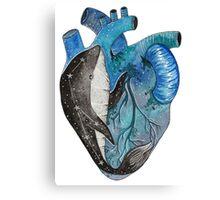 Blue human heart with a whale inside Canvas Print