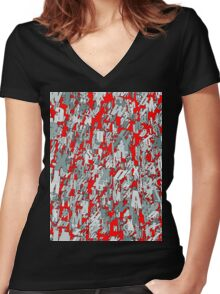 The letter matrix RED Women's Fitted V-Neck T-Shirt