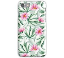 Tropical leaves and pink flowers iPhone Case/Skin