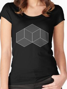 Geometric Illusion - White Women's Fitted Scoop T-Shirt