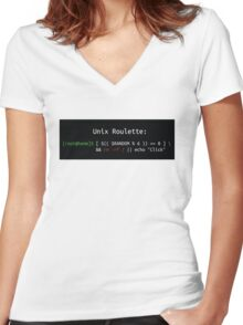 Unix Roulette Women's Fitted V-Neck T-Shirt