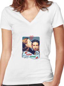 Fajitas Forever X Files Chili's  Women's Fitted V-Neck T-Shirt