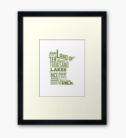 Minnesota State Typography Framed Print