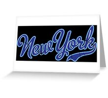 New York Script VINTAGE Blue Greeting Card