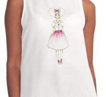 Cute Girly Drawn Anime Girl Manga Art Contrast Tank
