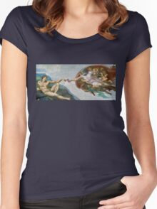 The Creation of Adam Beer Meme Women's Fitted Scoop T-Shirt