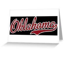 Oklahoma Script VINTAGE Garnet Greeting Card