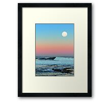 Newcastle Beach Sunset with Full Moon Framed Print