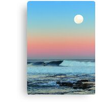 Newcastle Beach Sunset with Full Moon Canvas Print